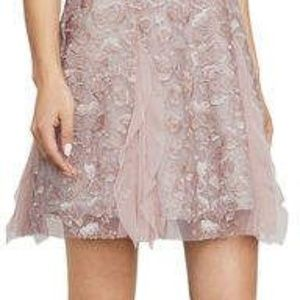 BCBGMAXMARIA PHOEBE EMBROIDERED TULLE DRESS